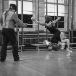 Fencing lesson fleche attack