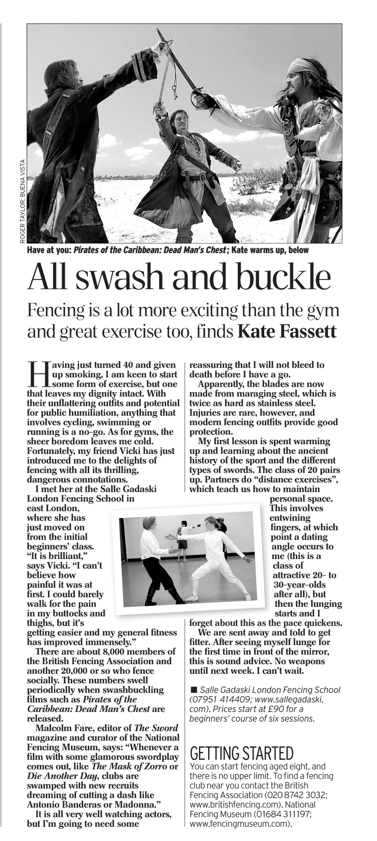 Fencing article from Sunday Telegraph