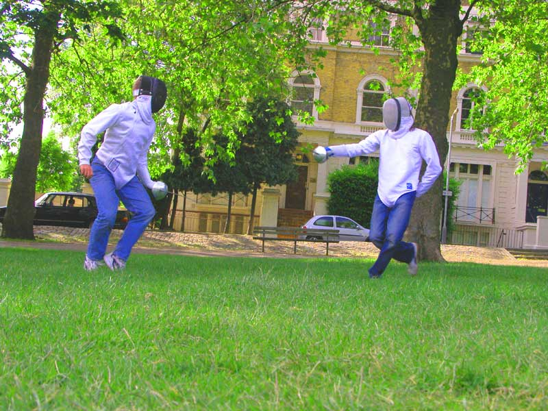 Mark and Chris of London Fencing Club bank holiday at Highbury Fields