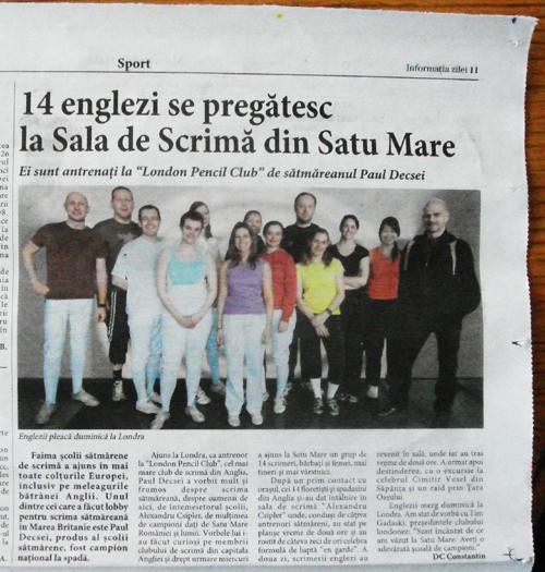 London Fencing Club trip to Satu Mare paper cut