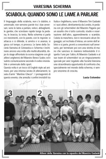 London Fencing Club Italian lakes trip Varese sport