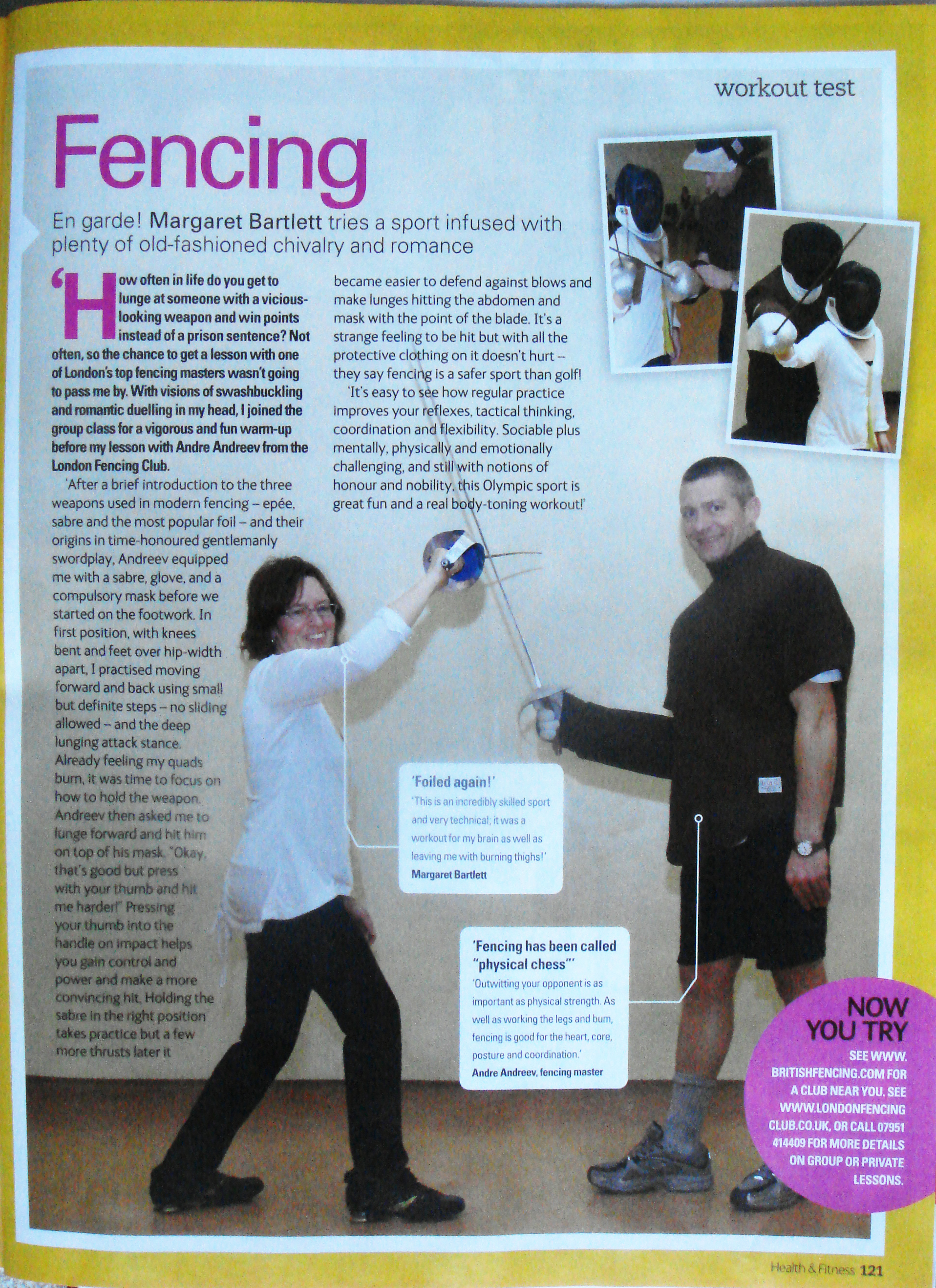 Fencing article Health & Fitness, April 2008